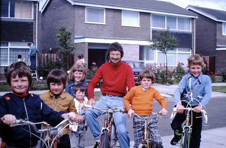 """Cramlington New Town, Northumberland, 1976. Thanks to Mark Rae for this great photo of himself (far left) with his dad, Sister Kate & Friends. Photo Taken by his mum Christine Rae. As Mark says """"a bit of Kodachrome magic"""""""